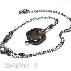 naszyjniki plaster granatu - naszyjnik, srebro, granaty, piryty