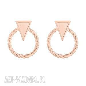 kolczyki obręcze z trójkątem różowego złota, plecione, obręcze, trójkąt