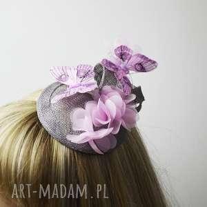 ozdoby do włosów różowe motyle, róż, szary, fascynator, toczek, jedwab, kwiaty
