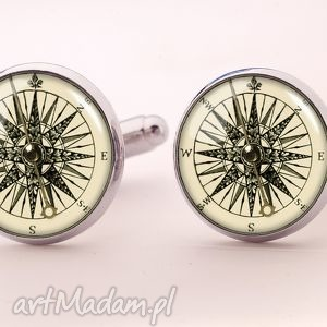foto kompas - spinki do mankietów - biżuteria, męska, prezent