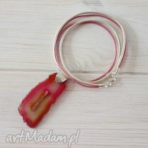 Różowy naszyjnik skóra agat, skórzany, skóra, naszyjnik, minimalizm, prosty
