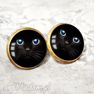 OCZY KOTA :: niesztampowe kolczyki na sztyft, wkrętki, wkręty, kot, oko, czarne