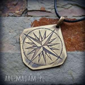 wisiorki wisior z trawionego mosiądzu - róża wiatrów, kompas, róża, wiatrów