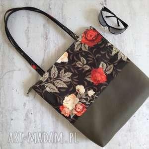 unikalny, torba na ramię, do pracy, w róże