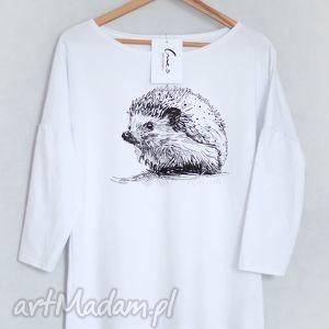 JEŻ bluzka bawełniana oversize S/M biała, bluzka, koszulka, bluza, bawełna, nadruk