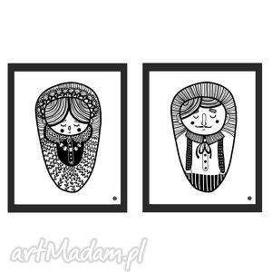 zestaw grafik - pani i pan, plakaty 40x50, ilustracje autorskie, para, ilustracja