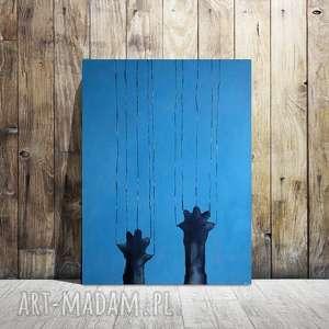 NIEGRZECZNY KOTEK -obraz akrylowy , kotek, płótno, łapki
