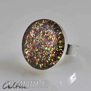 mix - brokatowy pierścionek, pierścień, duży, kolorowy, brokat