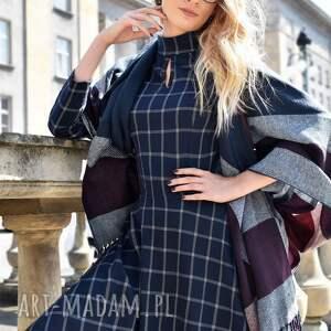 Sukienka ADEL Midi Gemma, krata, kieszenie, midi, stójka, roszkloszowana, łezka