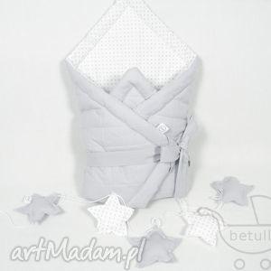 hand-made pokoik dziecka rożek niemowlęcy otulacz pikowany pastelowy szary