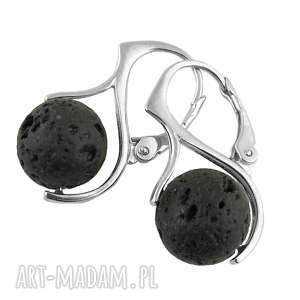 srebrne kolczyki ze skałą wulaniczną, srebrne, kolczyki, skała, wulkaniczna, kule
