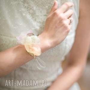 wyjątkowy prezent, bransoletka pastelowa, bransoletka, róż, szary, jedwab, ślub