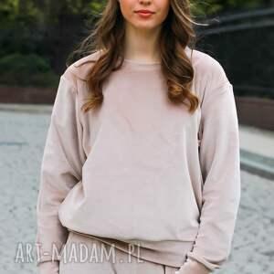 handmade bluzy elegancka bluza dresowa welurowa w kolorze beżowym lona