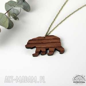 DREWNIANY NASZYJNIK - NIEDŹWIEDŹ, naszyjnik, niedźwiedź, drewno, drewniany, miś