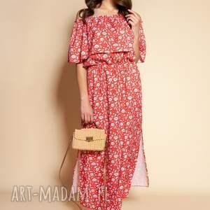 sukienki długa sukienka hiszpanka, suk200 czerwony wzór