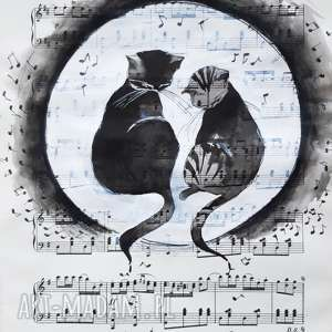 """""""koty piszą muzykę"""" akwarela na papierze z nutami artystki"""