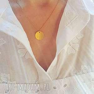 Naszyjnik boho z blaszką - ,kółko,medalion,naszyjnik,łańcuszek,celebrytka,blaszka,