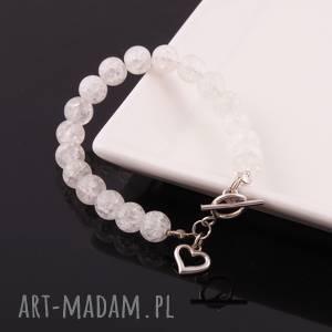 Kryształ górski-biała bransoletka - ,kryształ,górski,bransoletka,srebro,