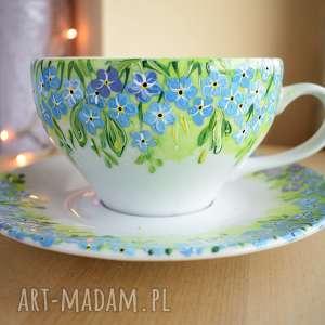 Filiżanka ręcznie malowana niezapominajki ceramika ciepliki