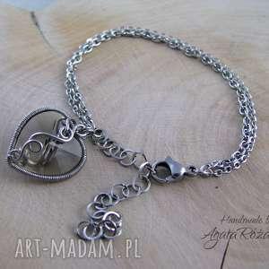 bransoletki bransoletka serce swarovski, wire wrapping, serce, swarovski
