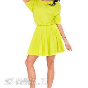 sukienka m_5 limonka - sukienka, luźna, szeroka, kimono, rozkloszowana, kobieca