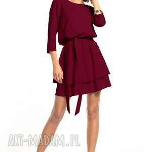 elegancka sukienka z podwójną spódnicą, t320, burgundowa, elegancka