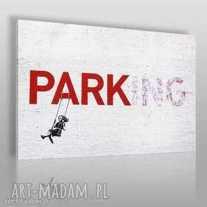 obraz na płótnie - banksy parking 120x80 cm 20011, bansky, streetart, mural