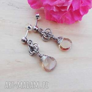 spolty z ametrynem, srebrne kolczyki, kolczyki sztyfty, srebrna biżuteria