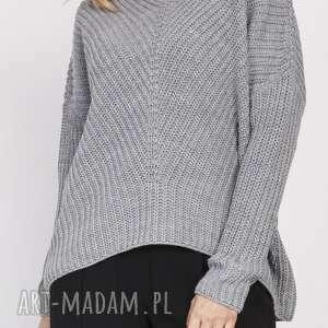 oversizeowy sweter o asymetrycznym kroju, swe124 szary, ciepły, luźny, wygodny