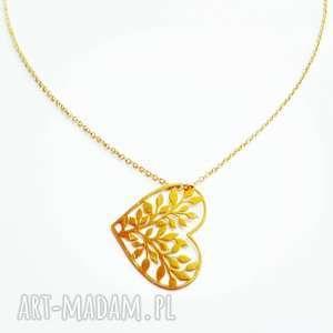 naszyjnik serce listki - serce, charms, łańcuszek, listki, miłość
