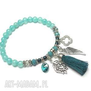 blue lagoon /gypsy/ 28-09-18 - bransoletka, marmur, perły, swarovski, chwost, boho