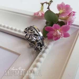 pierścionek liliowy, srebro, oksydowany, pierścionek, cyrkonia, ametyst