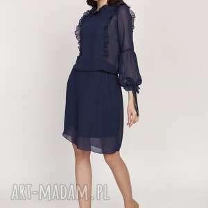 elegancka sukienka z ozdobnymi falbankami, suk176 granat r 38, midi, kobieca