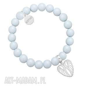 Jasnoniebieska bransoletka z pereł SWAROVSKI® CRYSTAL ze srebrnymi skrzydełkami