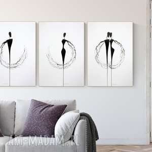 zestaw 3 grafik 50x70 cm wykonanych ręcznie, abstrakcja, minimalizm, obraz do salonu