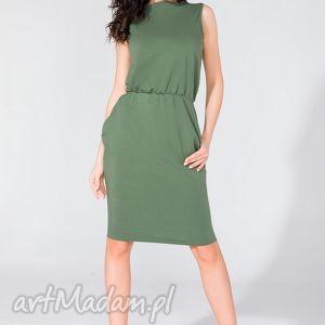 ręczne wykonanie sukienki sukienka midi z kieszeniami t132 zielony