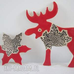 prezent na święta, zestaw 2 magnesów, bożonarodzeniowe, magnesy ceramiczne