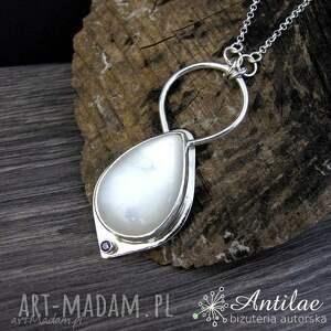 Widowiskowy naszyjnik z kamieniem księżycowym, delikatny naszyjnik, biżuteria ślubna