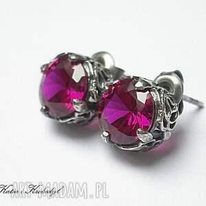 Koronkowe /ruby/ - kolczyki, srebro, koronkowe, sztyfty, cyrkonie, rubinowe