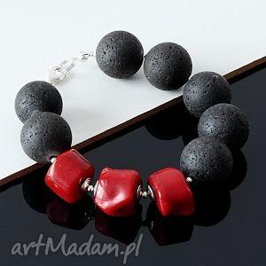 czarno-czerwona bransoletka, lawa wulkaniczna, koral, srebro