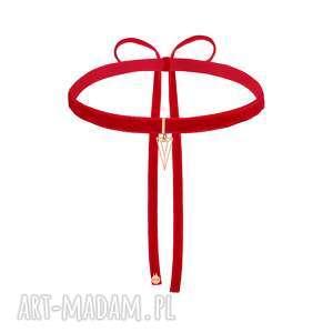 ręcznie wykonane naszyjniki czerwony aksamitny choker z ażurowym trójkątem różowego