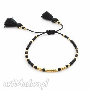 Bransoletka Minimal - Simple Black, bransoletka, koralikowa, chwost, delikatna