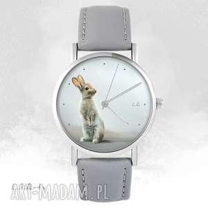 Zegarek - zając szary, skórzany zegarki liliarts zegarek, zając