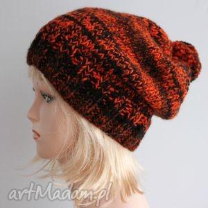 pomarańczowa czarna czapka z pomponem - melanż, czapka, krasnal, pompon, zimowa