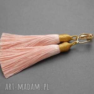 klipsy z chwostami, sznurek, eleganckie, wiszące, morelowe, długie, chwost
