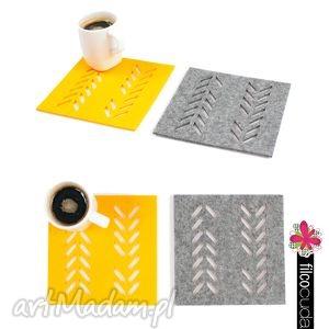handmade podkładki podkładka filcowe pod kubek warkocz 6 szt