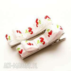 Spinki do włosów kokardki strawberry dla dziecka momilio art