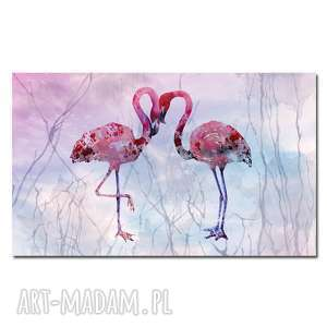 obraz xxl flaming 9 - 90x60cm na płótnie flamingi, obraz