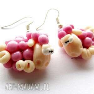 handmade kolczyki kolczyki różowe owce