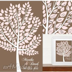 Drzewo wpisów gości weselnych - Plakat artystyczny - Alternatywna księga